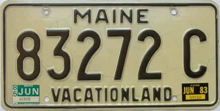 1985 Maine  (Single) license plate for sale