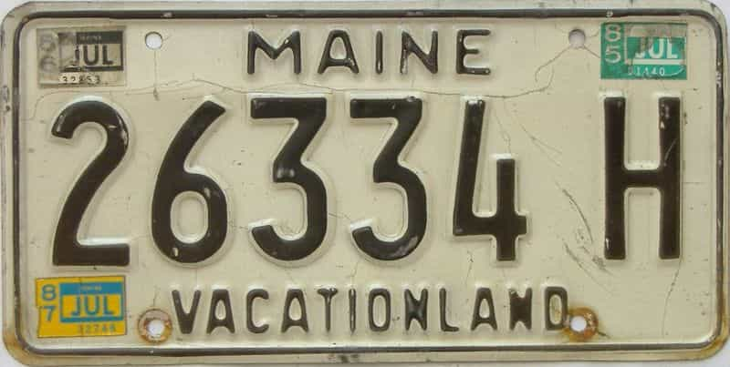 1987 Maine  (Single) license plate for sale