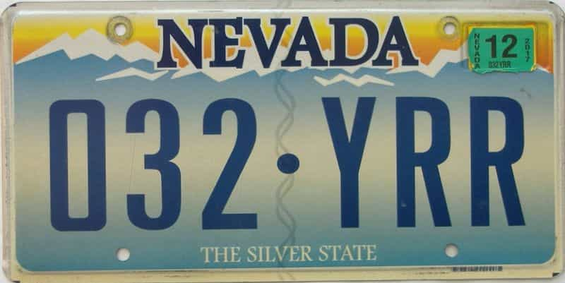 2017 Nevada  (Single) license plate for sale
