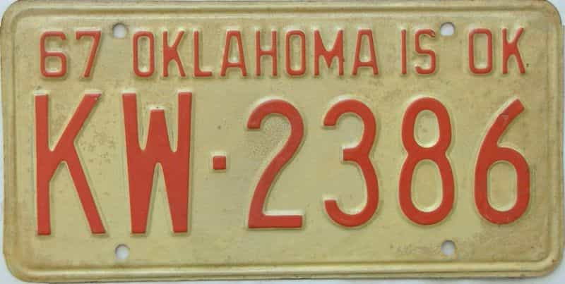 1967 Oklahoma license plate for sale