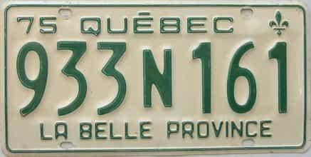 1975 Quebec license plate for sale