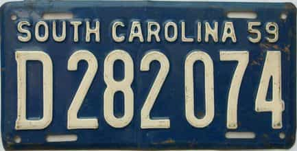 1959 South Carolina (Single) license plate for sale