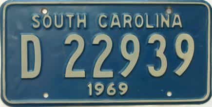 1969 South Carolina  (Single) license plate for sale
