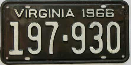 1966 Virginia (Single) license plate for sale