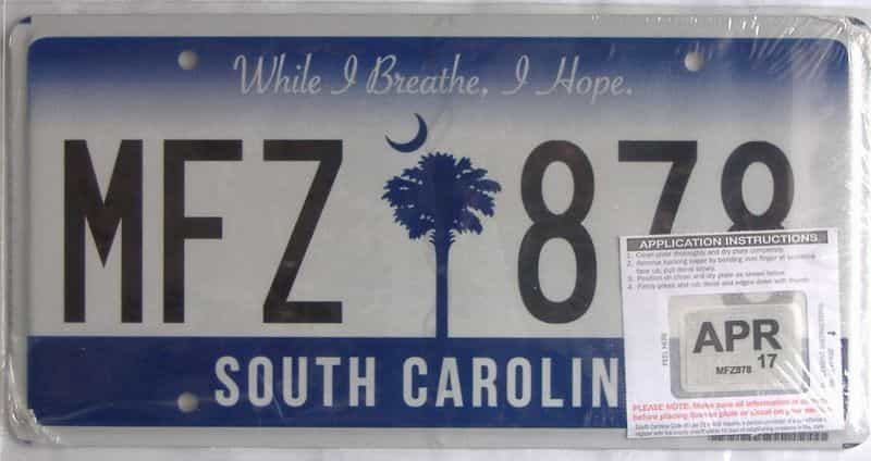2017 South Carolina license plate for sale