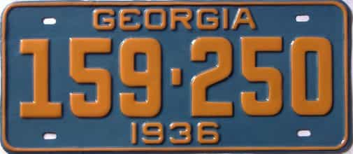 YOM RESTORED 1936 Georgia (Single) license plate for sale
