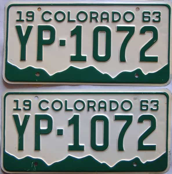 1963 Colorado  (Pair) license plate for sale