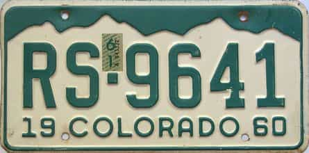 1961 Colorado (Single) license plate for sale