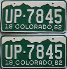 1962 Colorado  (Pair) license plate for sale