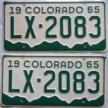 1965 Colorado (Pair) license plate for sale