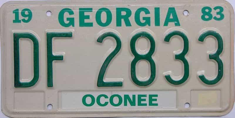 YOM 1983 Georgia license plate for sale