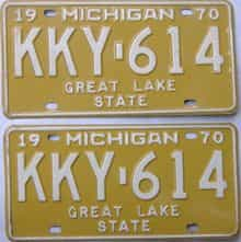 1970 Michigan (Pair) license plate for sale