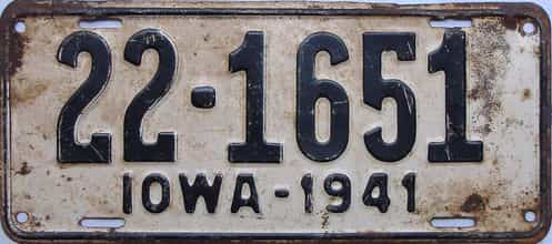 1941 Iowa  (Single) license plate for sale