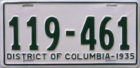 1935 District Of Columbia  (Very Nice Repaint) license plate for sale
