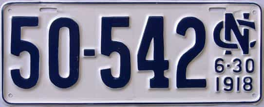 1918 North Carolina (Very Nice Older Repaint) license plate for sale