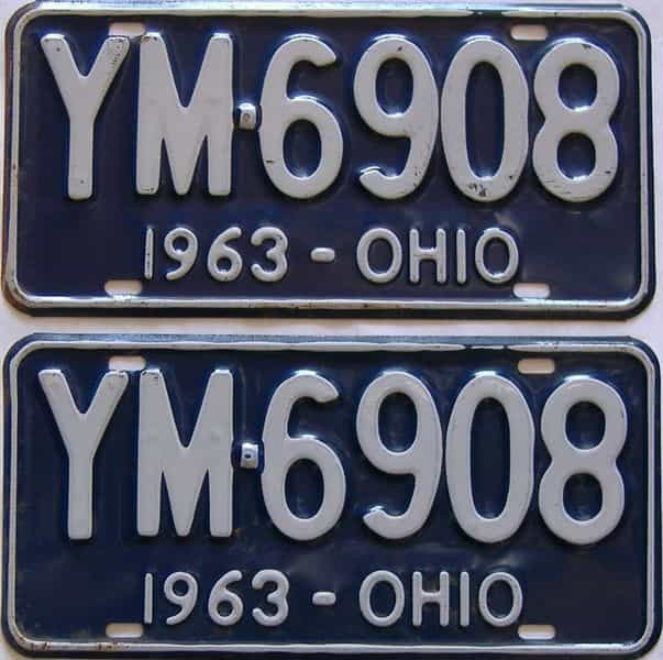 1963 Ohio  (Pair) license plate for sale