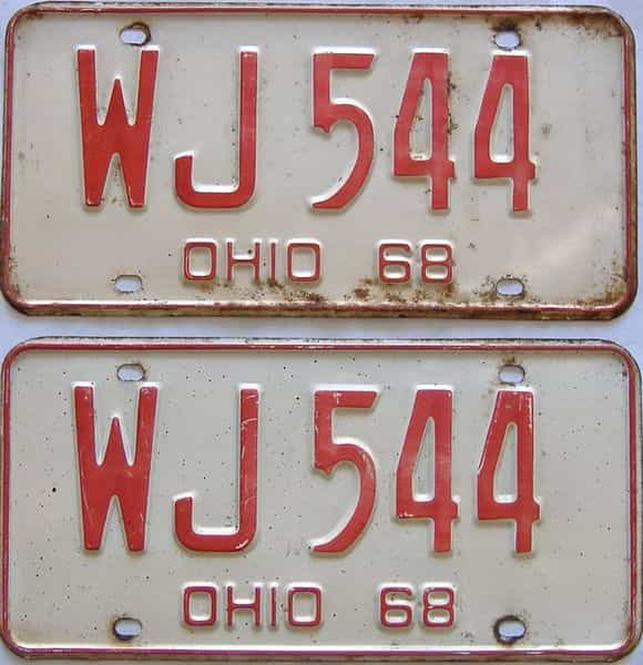1968 Ohio  (Pair) license plate for sale