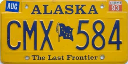 1993 Alaska (Natural Single) license plate for sale