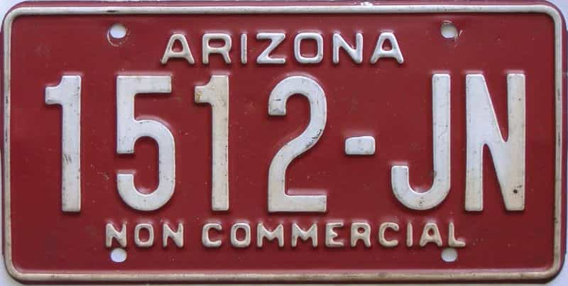 Arizona  (Non Passenger) license plate for sale
