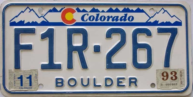 1993 Colorado (Natural Single) license plate for sale