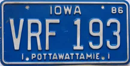 1986 Iowa  (Single) license plate for sale