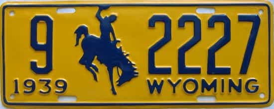 1939 Wyoming (Very Nice Repaint) license plate for sale