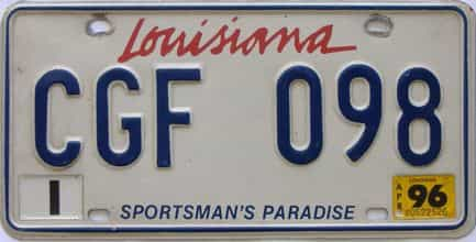 1996 Louisiana  (Natural) license plate for sale