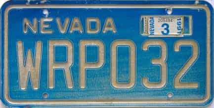 1991 Nevada (Single) license plate for sale