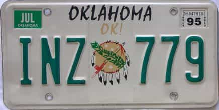 1995 Oklahoma (Natural) license plate for sale