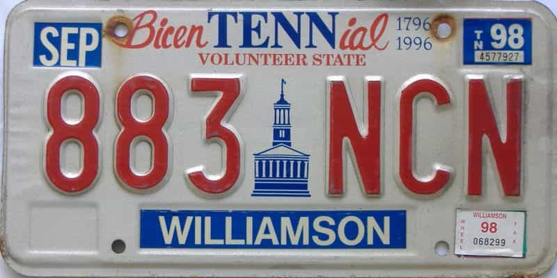 1998 Tennessee license plate for sale