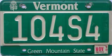 1990 Vermont  (Single) license plate for sale