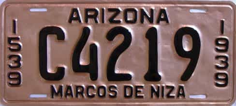 1939 Arizona (Very Nice Repaint) license plate for sale