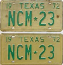1972 Texas (Pair) license plate for sale