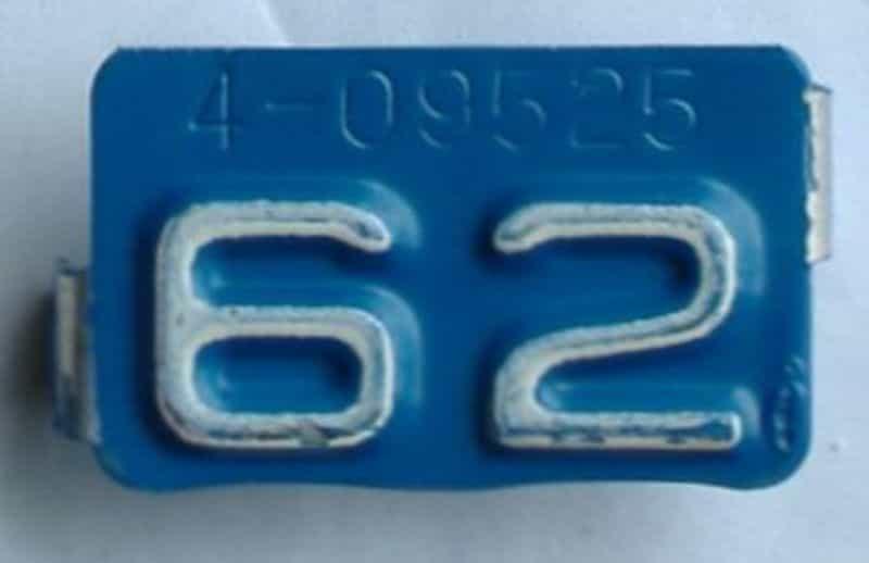 1962 Montana  (Single) license plate for sale
