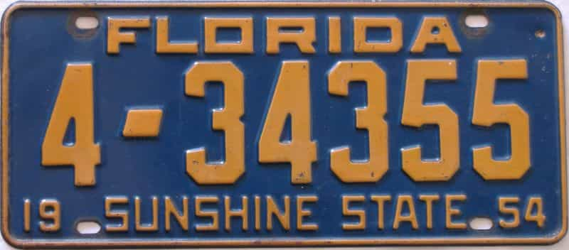 1954 Florida license plate for sale