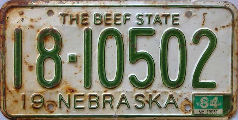 1964 Nebraska  (Single) license plate for sale