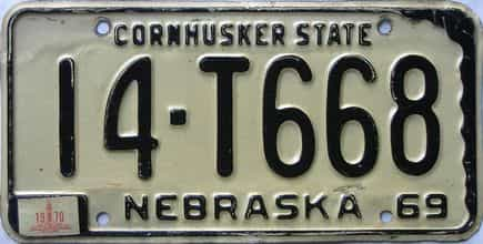 1970 Nebraska (Single) license plate for sale