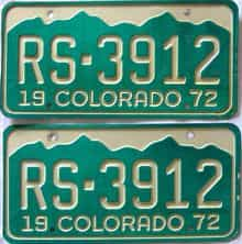 1972 Colorado (Pair) license plate for sale