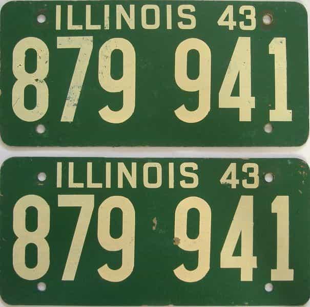 1943 Illinois (Fiber Board) license plate for sale