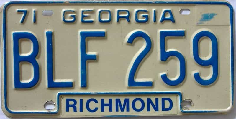 YOM 1971 Georgia license plate for sale