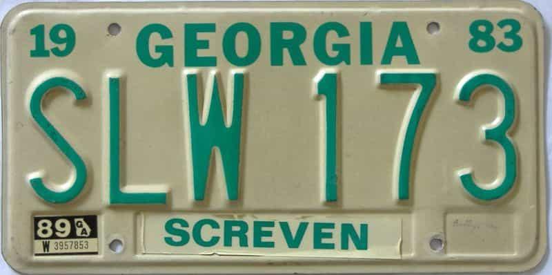 YOM 1989 Georgia YOM 1971 - 1989 license plate for sale