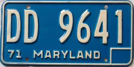 1971 Maryland  (Single) license plate for sale