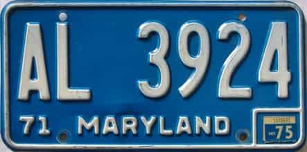 1975 Maryland  (Single) license plate for sale