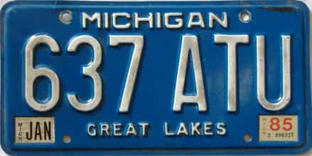 1985 Michigan license plate for sale