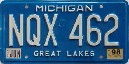 1998 Michigan license plate for sale