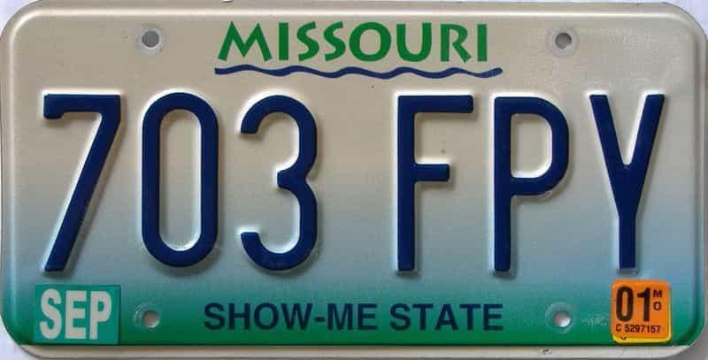 2001 Missouri  (Single) license plate for sale