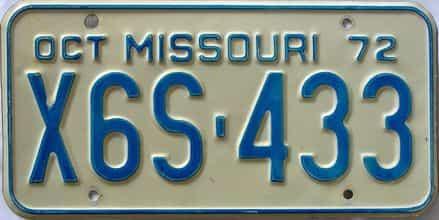 1972 Missouri license plate for sale