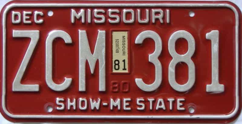 1981 Missouri  (Single) license plate for sale