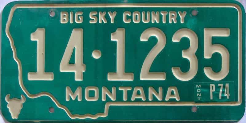 1974 Montana  (Single) license plate for sale