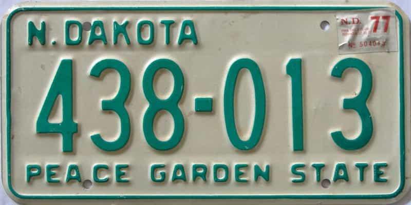 1977 North Dakota  (Single) license plate for sale